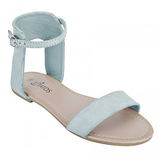 Estatos Open Toe Blue, Brown, Purple Ankle Strap Frosted Leather Flat Sandal