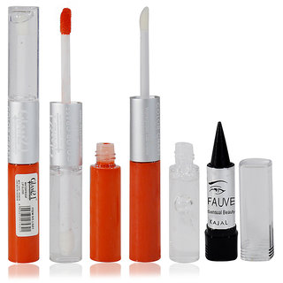 Glam21 2in1 Longlasting Waterproof Orange Lip Gloss Pack of 1 Free Kajal-07