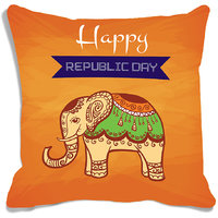 MeSleep Multi Colour Elephant Republic Day India Digital Printed Cushion Cover (16x16)