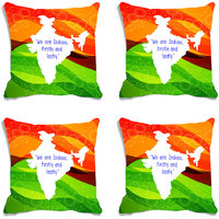 MeSleep Multi Colour Indian Map Republic Day India Digital Printed Cushion Cover (16x16)-Set Of 4