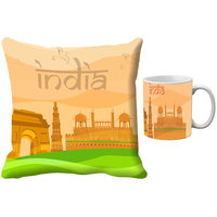 MeSleep Beige India Republic Day India Digital Printed Cushion Cover (16x16)-With Mug