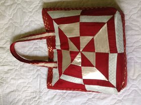 Red And Gold  Patch Work Shoulder Bag