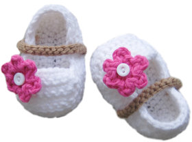 Baby Booties Handmade Crochet Baby Shoes  WHITE PINK