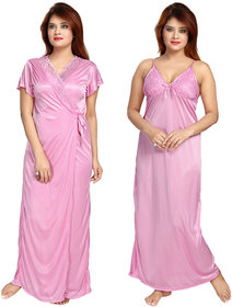 Be You Fashion Women Satin Pink Lace 2 piece Nighty Set