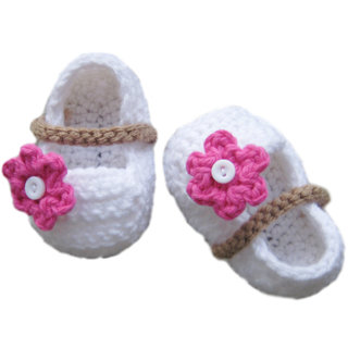 5ff26e731b6d Buy Baby Booties Handmade Crochet Baby Shoes WHITE PINK Online ...