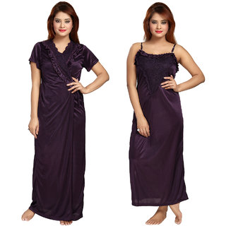 Be You Fashion Women Satin Voilet Lace 2 piece Nighty Set