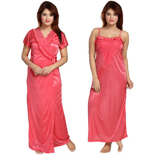 Buy Be You Fashion Women Satin Peach Lace 2 piece Nighty Set Online - Get  9% Off fa02dc40c