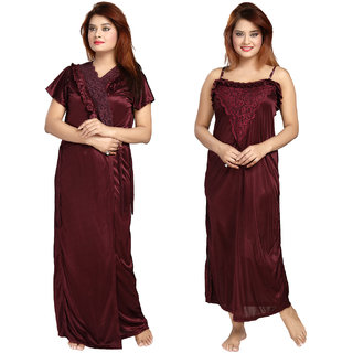 58f0f9fc56 Be You Fashion Women Satin Maroon Lace 2 piece Nighty Set