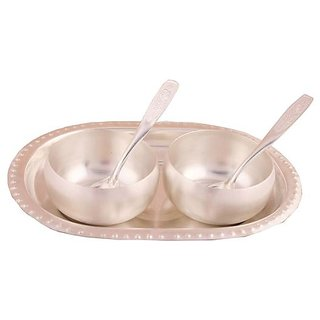 Tuzech Silver Plated 3 Met Finish Bowl Set With oval Tray