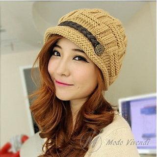 b30dd6de3c5 Modo Vivendi Woolen Cap with Button Belt Warm Woolen Knitted Fashion Hat