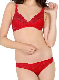 Fashion Bazaar India Red Colour Wedding Netted Lingerie Set