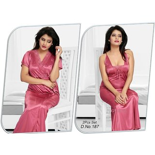 Womens Sleep Wear Set 2p Nighty Over Coat 187 Pink Night Wear Gift Bed Gown  and dba1efea3