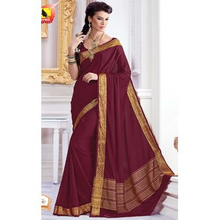 Sudarshan Silks Maroon Crepe Plain Saree With Blouse