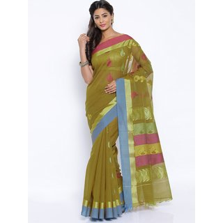 Sudarshan Silks Green Raw Silk Plain Saree With Blouse