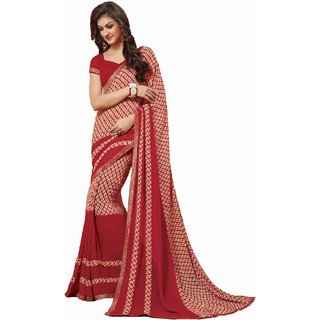 Sudarshan Silks Red Polyester Plain Saree With Blouse