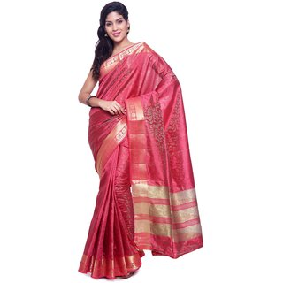 Sudarshan Silks Maroon Raw Silk Plain Saree With Blouse