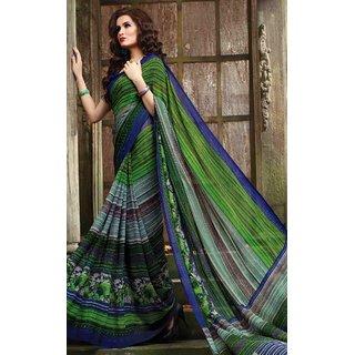 Sudarshan Silks Green Cotton Plain Saree With Blouse