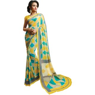 Sudarshan Silks Multicolor Crepe Plain Saree With Blouse