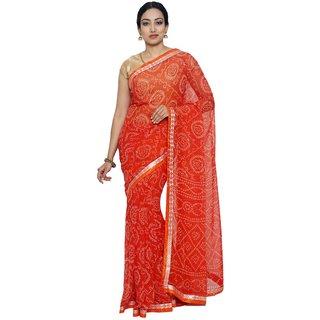 Sudarshan Silks Orange Polyester Plain Saree With Blouse