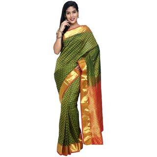 Sudarshan Silks Green Silk Plain Saree With Blouse