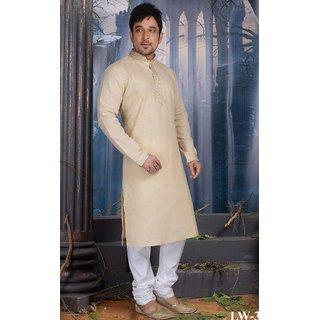 Sudarshan Silks Cream Cotton Plain Saree With Blouse