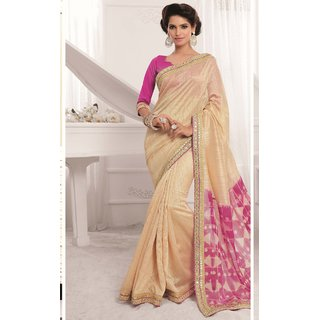 Sudarshan Silks Cream Georgette Plain Saree With Blouse