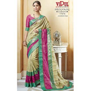 Sudarshan Silks Multicolor Dupion Silk Plain Saree With Blouse