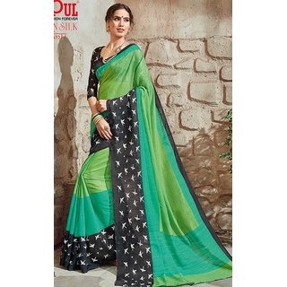 Sudarshan Silks Multicolor Crepe Plain Saree With Blouse