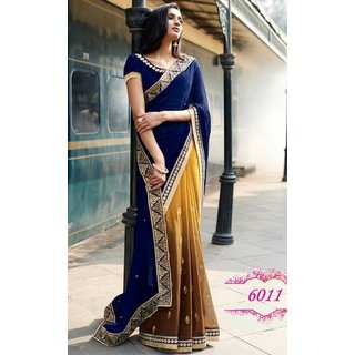 Sudarshan Silks Blue Georgette Plain Saree With Blouse