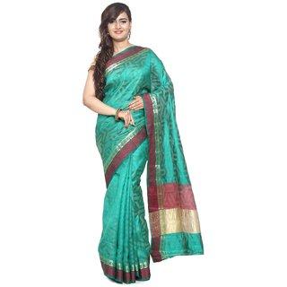 Sudarshan Silks Blue Raw Silk Plain Saree With Blouse
