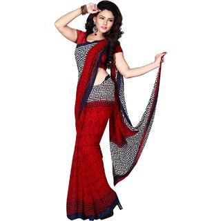 Sudarshan Silks Red Raw Silk Plain Saree With Blouse