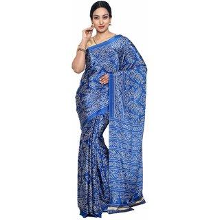 Sudarshan Silks Blue Polyester Plain Saree With Blouse