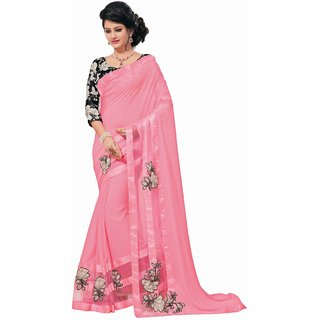 Sudarshan Silks Pink Georgette Plain Saree With Blouse