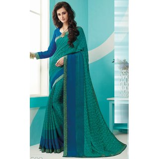 Sudarshan Silks Green Polyester Plain Saree With Blouse