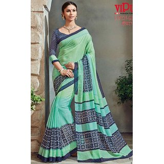 Sudarshan Silks Blue Crepe Plain Saree With Blouse