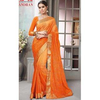 Sudarshan Silks Orange Chiffon Plain Saree With Blouse
