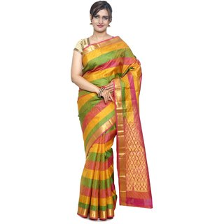 Sudarshan Silks Multicolor Silk Plain Saree With Blouse