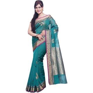 Sudarshan Silks Blue Silk Plain Saree With Blouse