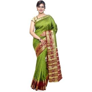 Sudarshan Silks Green Raw Silk Plain Saree With Blouse