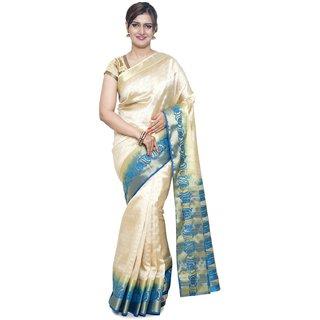 Sudarshan Silks White Raw Silk Plain Saree With Blouse