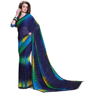 Sudarshan Silks Blue Raw Silk Plain Saree With Blouse