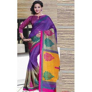 Sudarshan Silks Purple Cotton Plain Saree With Blouse