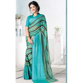Sudarshan Silks Blue Brasso Plain Saree With Blouse