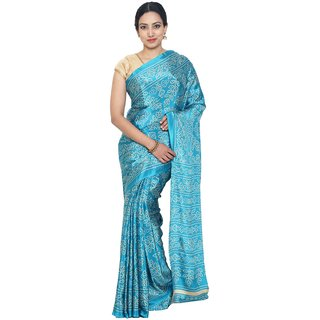 Sudarshan Silks Blue Polyester Plain Saree With Blouse