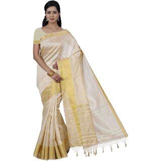 Sudarshan Silks White Tussar Silk Plain Saree With Blouse