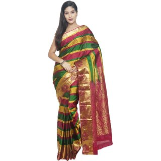 Sudarshan Silks Multicolor Silk Plain Saree With Blouse