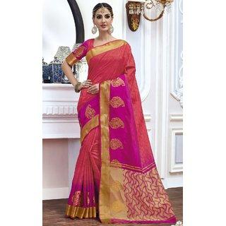 Sudarshan Silks Pink Raw Silk Plain Saree With Blouse