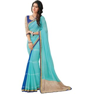 Sudarshan Silks Blue Georgette Plain Saree With Blouse