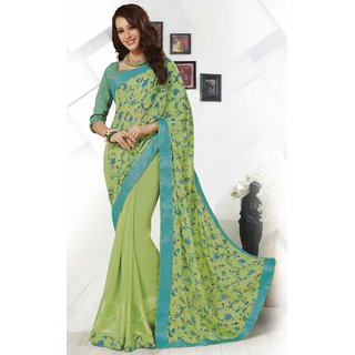 Sudarshan Silks Green Georgette Plain Saree With Blouse
