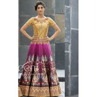 Sudarshan Silks Purple Silk Plain Saree With Blouse